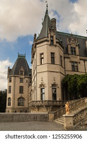 Ancient castle with tower. Gilded age of american history. French Renaissance chateau.Architecture details.