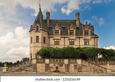 Ancient castle with towers and architecture details. Gilded age of american history. French Renaissance chateau.