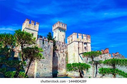 Ancient castle towers scene. Castle towers view. Ancient castle towers landmark. Castle towers landscape