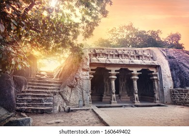 Ancient cave with columns in Mamallapuram complex, Tamil Nadu, India