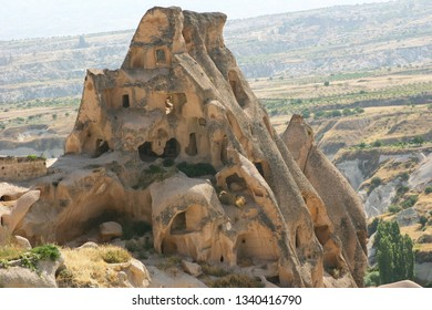 Ancient Cave Houses Eroded by the Wind are found in the Cappadocia region of Turkey