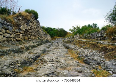 Ancient cave town/city of Crimean Tatar - Chufut-Kale, Mangup-Kale, Bakhchisaray. Historical ruins and amazing place. The Caves was built in the limestone walls. Cultural Landscape.