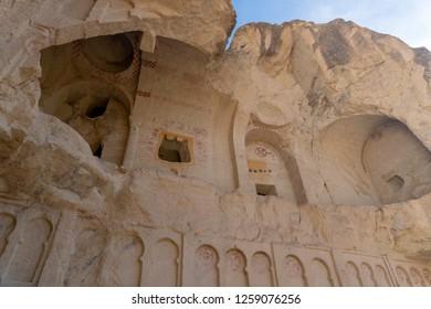 Ancient cavetown church near Goreme, Cappadocia, Turkey. Cappadocia mountain church. Goreme christian church. Christian church, Cappadocia, Turkey. Cave town with ancient christian temple, Cappadocia.