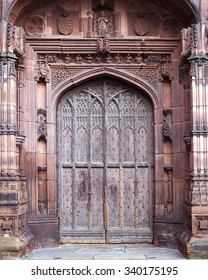 Ancient Chester cathedral doorway