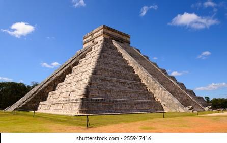 Ancient Chichen Itza Mayan Kukulcan pyramid in Mexico