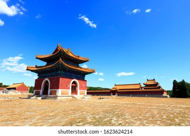 Ancient Chinese architecture under the blue sky
