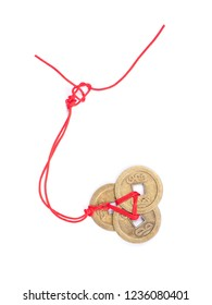Ancient Chinese coins connected by red thread symbol of fortune, Ornament of china new year festival isolated on white background
