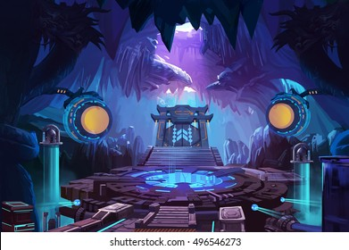 Ancient Chinese Mystery Cave with Science Fiction Building. Video Game's Digital CG Artwork, Concept Illustration, Realistic Cartoon Style Background