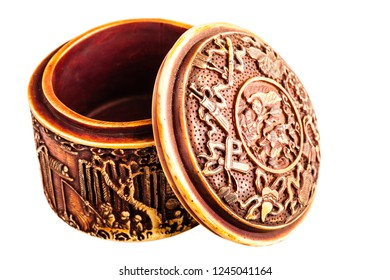 an ancient chinese ornated container isolated over a white background