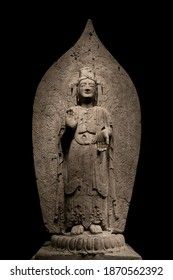 ancient chinese standing Bodhisattva buddha limestone statue image in Northern Qi dynasty, dated 552, China