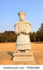 Ancient Chinese stone statues of civil servants