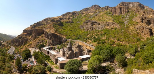 The ancient Christian temple Gegard in the mountains of Armenia. Top view.