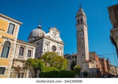 Ancient Church and bell tower called San Giorgio dei Greci in Venice