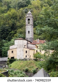 Ancient church with bell tower of a mountainous country of Tuscany