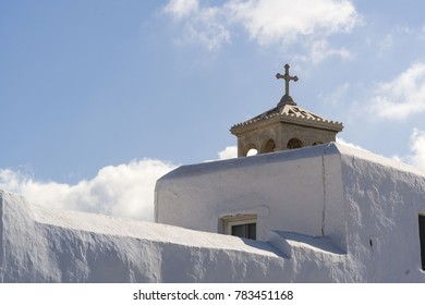 Ancient Church in the Mykonos island in the blue sky