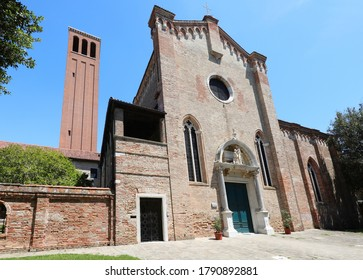 ancient church of Santa Elena in Venice ITALY and the tall brick bell tower