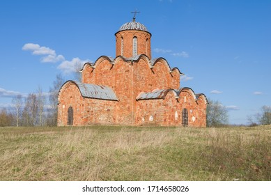 The ancient Church of the Savior on Kovalev on a sunny April day. Suburbs of Veliky Novgorod, Russia