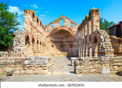 The ancient Church of St. Sophia (Stara Mitropolia) ruins in Nessebar, Bulgaria.