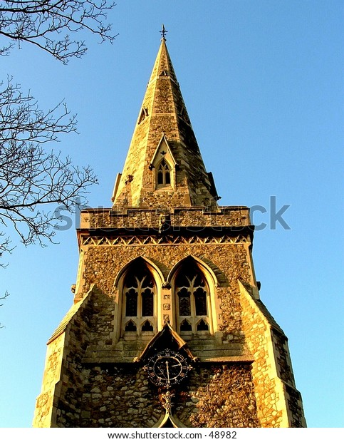 Ancient church steeple, Romford, England.