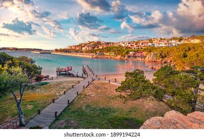 Сharm of the ancient cities of Europe. Attractive evening view of Porto Cervo, Province of Olbia-Tempio Italy, Europe. Romantic spring scene of Sardinia. Beautiful Mediterranean seascape.