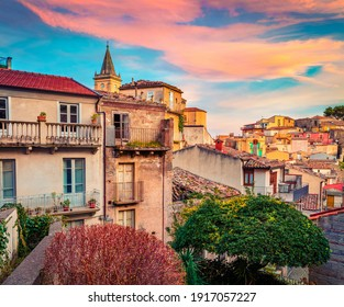 Сharm of the ancient cities of Europe. Wonderful cityscape of Novara di Sicilia town. Colorful spring sunrise in Sicily, Italy, Europe. Beautiful world of Mediterranean countries.  - Shutterstock ID 1917057227