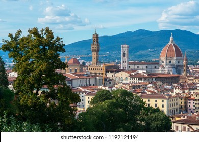 Ancient city center, Florence, Tuscany, Italy. Varicoloured beautiful building in ancient European town, view from Boboli Gardens, Florentine amazing landscape.