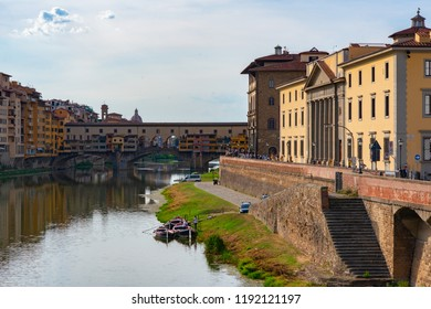 Ancient city center, Florence, Tuscany, Italy. Varicoloured beautiful building in ancient European town. Arno river bank and Old Bridge, Florentine amazing landscape.
