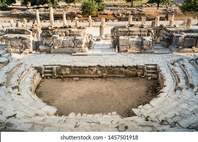 Ancient city Ephesus (Efes). Ancient architectural structure Roman little amphitheatre. Most visited ancient city in Turkey. Selcuk, Izmir TURKEY
