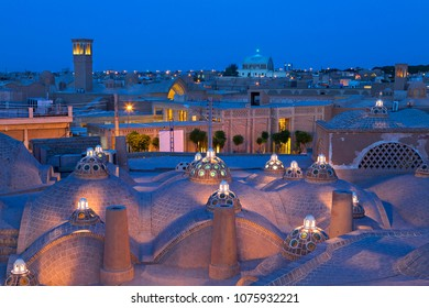 Ancient city of Kashan in Iran, at the twilight.