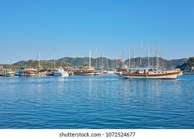ancient city in Kekova and a boat with turkish flag, Antalya, Turkey. Image of summer vacation in Turkey.