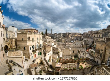 The ancient city of Matera, carved into the rock. Old stone blocks of the city. In 2019-the cultural capital of Europe. Materinskii gorges near the town. Beautiful view. Italy.