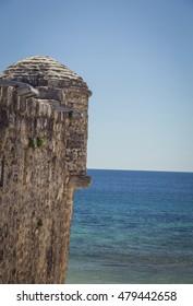 The ancient city on the coastline of Adriatic sea. Budva. Montenegro. Budva riviera. Ancient fortress the in Venetian style.