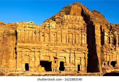 Ancient city of Petra in Jordan. Petra in Jordan ruins. Petra ruins