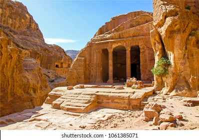 Ancient city of Petra in Jordan. Temple in Petra, Jordan