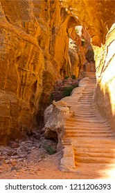 Ancient city stair of Petra in Jordan. Temple stairway in Petra, Jordan. Petra in Jordan