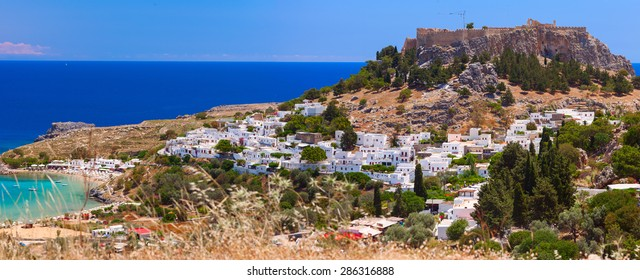 The ancient city â?? state of Lindos, protected by its strong Acropolis was a major maritime power and experienced a significant cultural growth. Rhodes island, Greece.