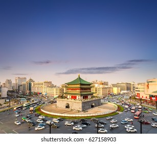 ancient city in sunset, bell tower is the center of xi 'an
