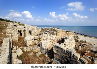 ancient city of Tharros founded by the Phoenicians in the eighth sec.ac. town of Cabras, Oristano, Sardinia.