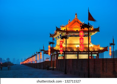 ancient city wall at night, Xi'an,China