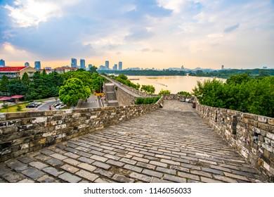 Ancient city walls and temples in Nanjing, China