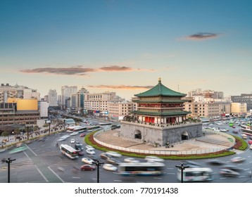 ancient city of xian cityscape, bell tower in sunset, China