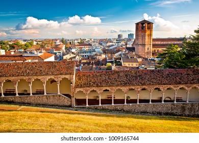 Ancient cityscape of Udine rooftops view, Friuli-Venezia Giulia region of Italy