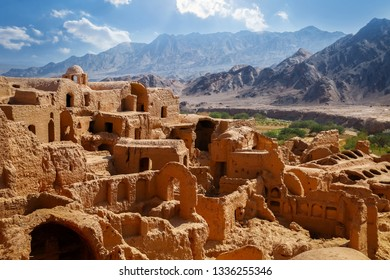 Ancient clay architecture in the abandoned village of Kharanagh. Persia. Iran. Sights Yazd.