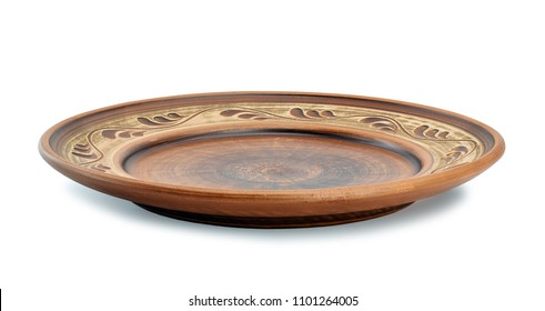 Ancient clay plate on a white background