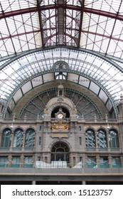 Ancient clock in Antwerp train station