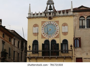 Ancient Clock in the main square of Bassano del Grappa a small town near Vicenza City in Northen Italy