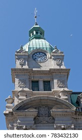 Ancient clock tower of Sinclair Centre in Vancouver, Canada
