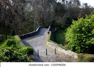 Ancient cobbled Brig O Doon over River Doon at Alloway Ayr Scotland
