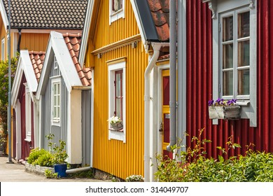 Ancient colorful wooden houses in the city of Karlskrona, Sweden