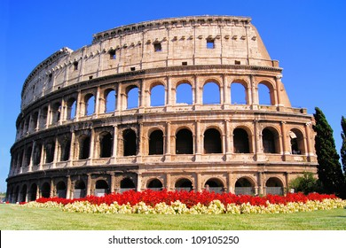 Ancient Colosseum, with flowers, Rome, Italy